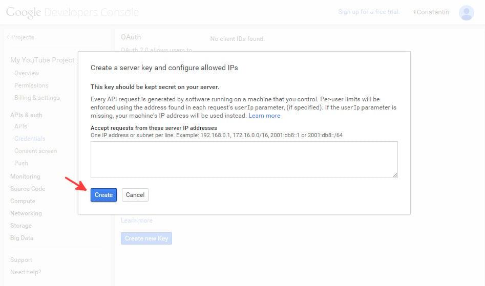 Google console API  credentials - step 3