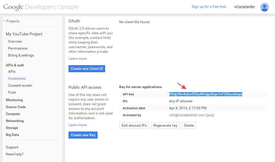 Google console API  credentials - step 4