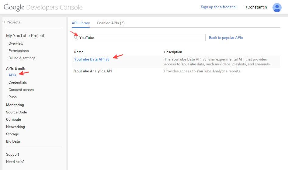 Google console enable Youtube API - step 1