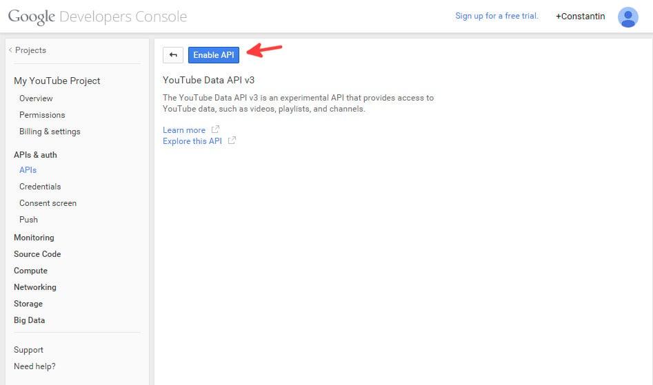 Google console enable Youtube API - step 2