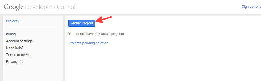 Google console new project - step 1