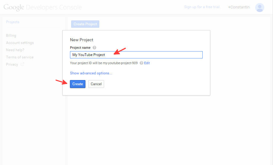 Google console new project - step 2
