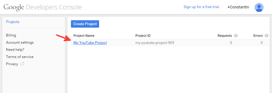 Google console new project - step 3