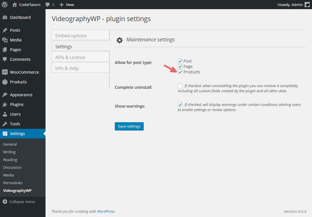 VideographyWP enable WooCommerce post type