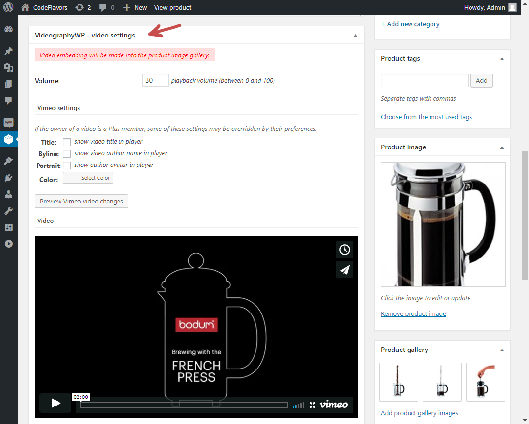 VideographyWP WooCommerce featured video options
