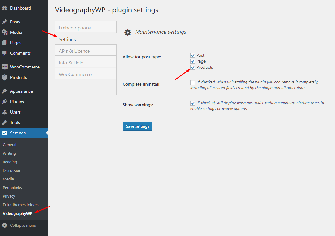 VideographyWP enable WooCommerce products